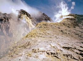 Действующие фумаролы на вершине вулкана